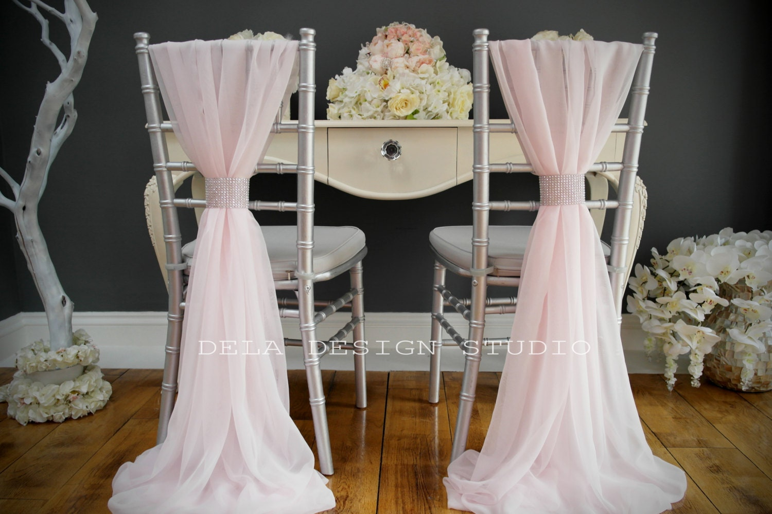 Wedding Chiffon Chair Cover Sash Pale Pink Wedding Chair