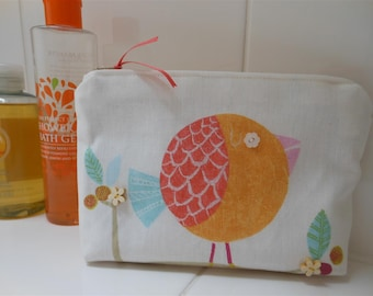 Orange Bird Make-Up Bag