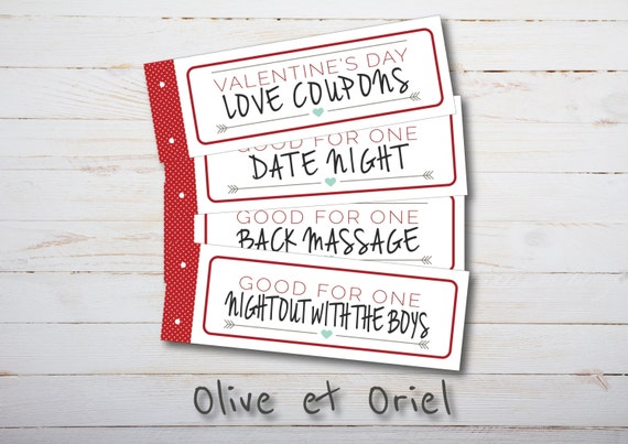 Items similar to printable valentines day gift love for Coupons for my boyfriend
