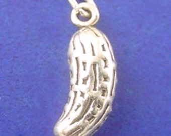 PICKLE Charm, Vegetable .925 Sterling Silver Charm