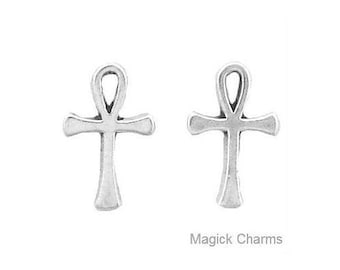 EGYPTIAN ANKH EARRINGS, Post Stud .925 Sterling Silver