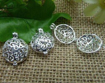 2 Silver Lovely High Quality Brass Filigree Wish Box Magic Box Charm Pendant ( open double sided and 3D )  8x17x25mm-No.C7560