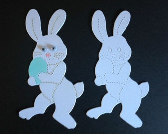 15 White Easter Bunnies bunny die cuts for cards/toppers *cardmaking*scrapbooking*