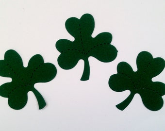 30 dark green Shamrock die cuts for St.Patricks irish day goodluck cards cardmaking scrapbooking paper craft