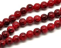 20 Loose Glass Beads Dark Red Black 8mm 3872