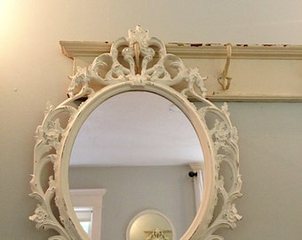 Baroque Mirror, Bathroom Mirror, Ornate Shabby Cottage Chic Mirror, Ivory Antique White Distressed Mirror, Vintage Style Wall Hanging