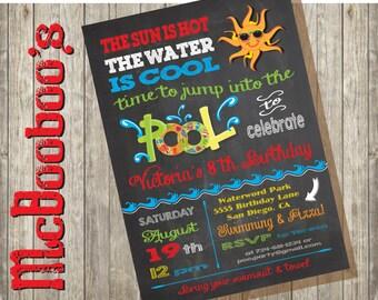 Chalkboard Birthday Pool Party Invitation