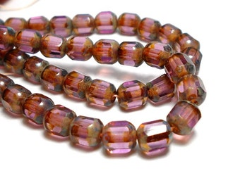 6mm Amethyst Cathedral Czech Beads, Purple Beads, Antique Octagonal Beads, 6mm Cathedral Beads D-B20