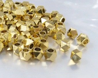 Faceted bead, 4.5mm, metal spacer bead, gold plate spacer, large hole bead - 25 pcs/ order