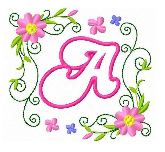 Applique Flower Letters Alphabet Embroidery By BestDesigns13