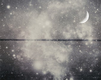 Starry night photography star photo moonlight home decor galaxy wall art star wall decor star black and white starlight art MOONLIGHT SONATA