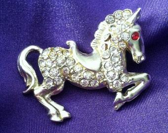 Vintage Rhinestone Horse Pin