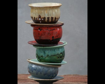 Hand thrown Berry Bowl Colander browns reds greens and blues Avior