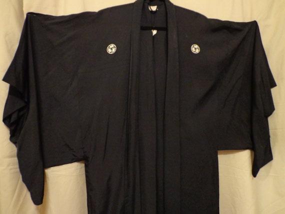 Vintage kimono  black  NAKADA JAPAN. Long.