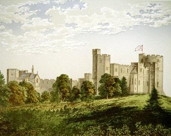 Peckforton Castle (Near Tarporley, Cheshire) United Kingdom, England * 1880 Vintage Antique Castle Lithograph * Landscape Beautiful!