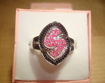 Genuine Black Diamond And Pink Sapphire 925 Sterling Silver Ring Size 8.5