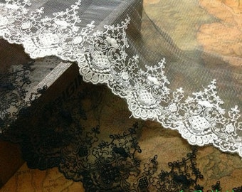 1yard DIY Lace trim online store flower embroidered ribbon DIY material 7inch lace belt white trim lace for wedding