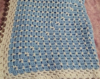 Crochet baby afghan blue and white