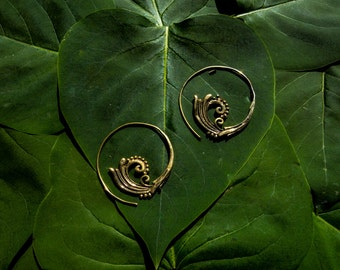 tribal spirals earrings medium size, silver plated or brass
