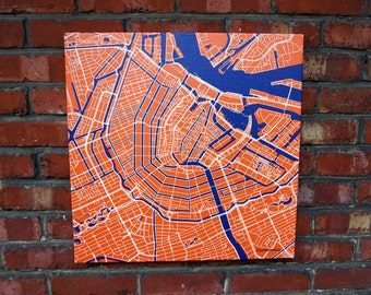 Amsterdam city map on canvas