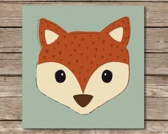 DIGTAL DOWNLOAD - Woodland, Modern, Rustic, Fox Head Children's Print