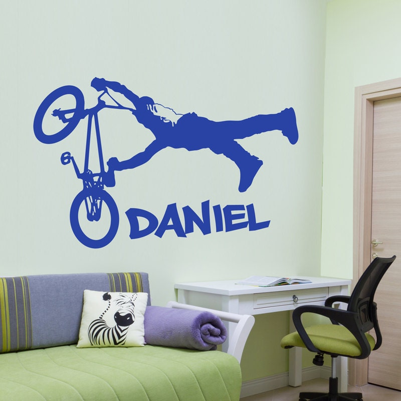 Personalised bmx wall sticker decal bedroom nursery by for Bmx bedroom ideas
