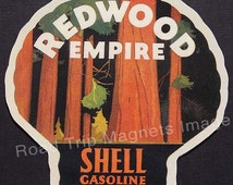 Shell Gasoline 1920s Travel Decal Magnet for REDWOOD EMPIRE. Accurate reproduction & hand cut in shape as designed. Nice Travel Decal Art