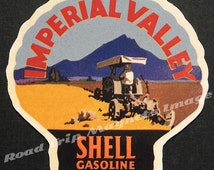 Shell Gasoline 1920s Travel Decal Magnet for IMPERIAL VALLEY. Accurately Reproduced & hand cut in shape as designed. Nice Travel Decal Art