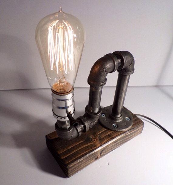 Pipe Lamp Industrial Lamp Urban Pipe Lamp By: Industrial Pipe Lamp Fathers Day-Unique Table Lamp