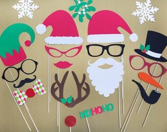 Christmas Photo Props Set of 20 Christmas Photo Booth Props Holiday Photo Prop Christmas Party Decorations  Christmas Photography Props