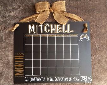 Custom Wooden Chalkboard Calendar