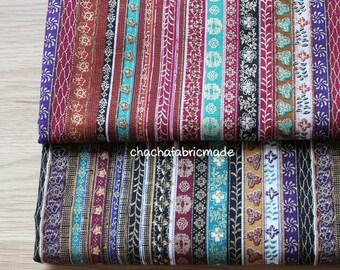 Colorful Stripe Cotton Linen Fabric BOHO Bohemian Style Garment Chair Cushion Fabric Upholstery Fabric Tribal Fabric- 1/2 Yard