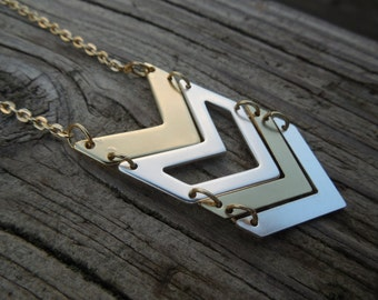 Gold and Silver Chevron Necklace
