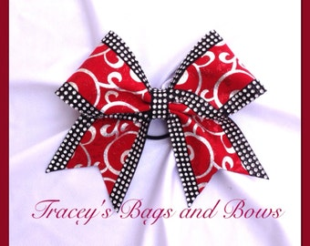 Cheer Bow~Red, Black and Silver~Softball Bow