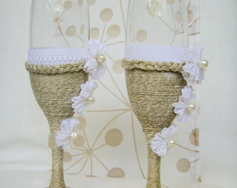 Rustic Wedding Champagne Glasses / Country Barn Wedding Wine Glasses