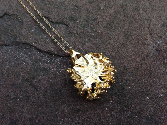 Small 24K Gold Electroplated Real Kale Pendant Necklace with a 14K Gold Filled Chain - 30 inches