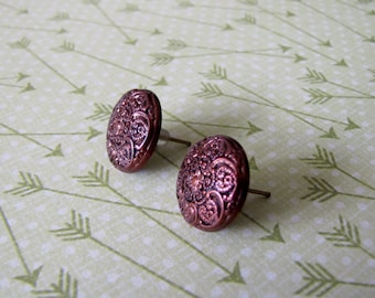 Textured Bronze Button Earrings