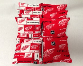DETROIT REDWINGS 8 Cornhole Bags NHL 4 Of Each Print 2 Sides