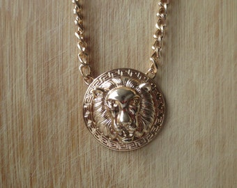 Gold Lion head Necklace,  christmas gift, New Year gift