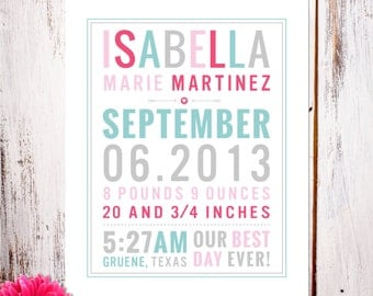 """Personalized Birth Announcement Art Print """"Best Day Ever"""""""