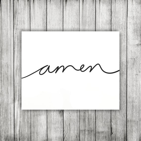 Amen Handwritten Word Cursive Script Printable By