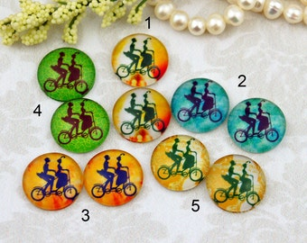 12mm,16mm,20mm Mix lover bike beige Handmade photo glass cabochon cabs 12P012