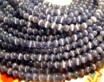 1 strand Purple Cat's Eye Glass Beads 4mm Round
