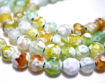 50pcs Fire Agate 4mm Faceted Stone Beads Yellow Amber White