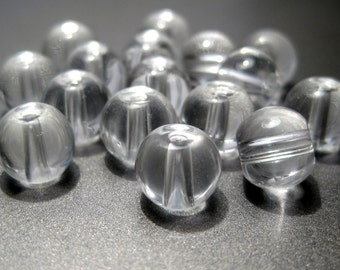 8mm Round Clear Glass Beads