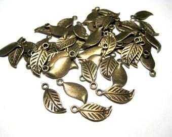 Antique Bronze Leaf Charms Pendants Craft supplies