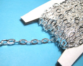 21 Ft /Spool Bright Silver Plated Flat Cable Link Chains Link-Opened 7x4mm(No. 740)