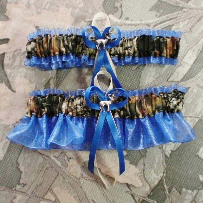 Mossy Oak Royal Blue Wedding Garter Set Camouflage Camo Deer