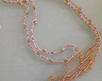 "Beaded macrame lariat necklace - pink peridot coral - ivory cord - handmade - y lariat - macrame lariat - 54"" - free US shipping"