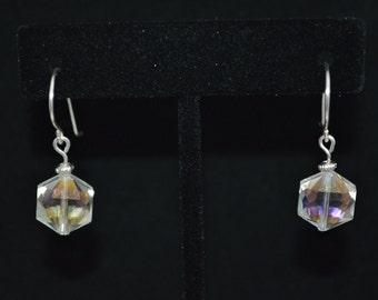 Crystal White Hex Earrings on Handmade Earring Hooks